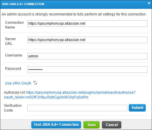 qTest - Project Settings - Integration Settings - Add Connection