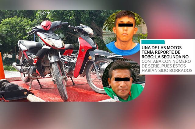 Caen dos sujetos con moto robada