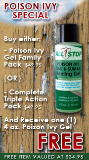 Purchase either the Healing Gel Family Pack or Complete Triple Action Pack and receive one 4 oz. Poison Ivy Gel FREE!