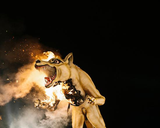 Wolf sculpture on fire