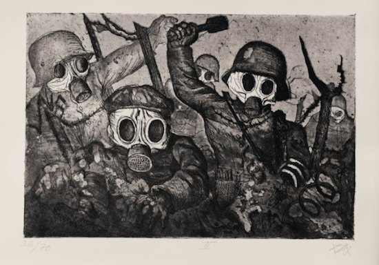 black and white sketch of corpses in gas masks advancing