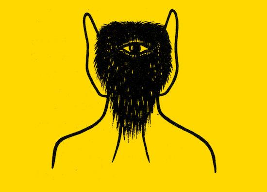 rudimentary drawing of a hairy head on yellow background with one eye in the middle of it