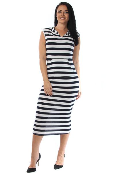 Hooded Striped Midi Dress
