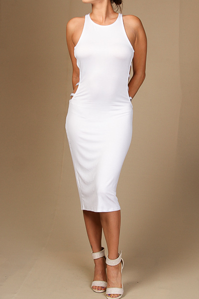 Solid Ladder Side Midi Dress