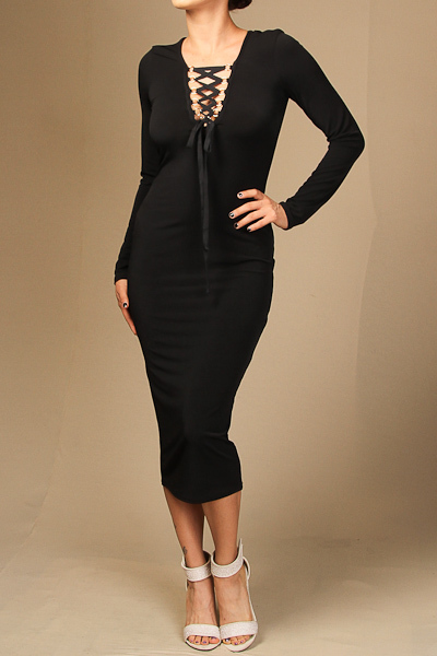 Long sleeve solid front tie midi dress