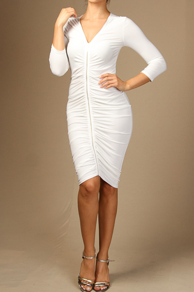Solid front zip up knee length dress