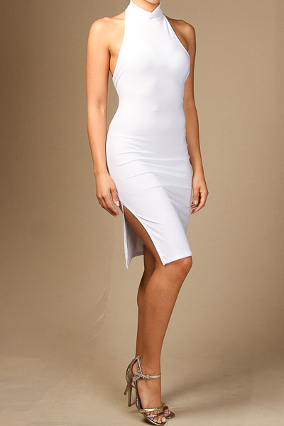Solid halter neck midi dress