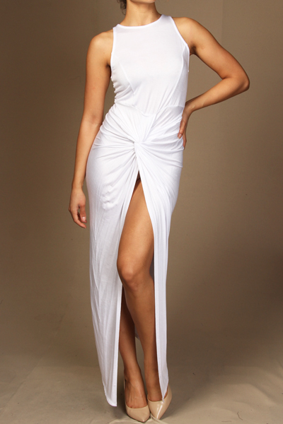 Solid sleeveless front slit maxi dress