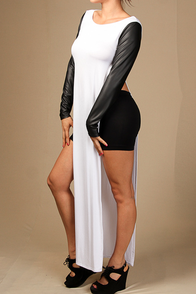 PU long sleeve side slit maxi top