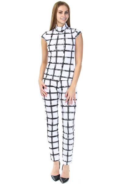 checkered print short sleeve top & pants set
