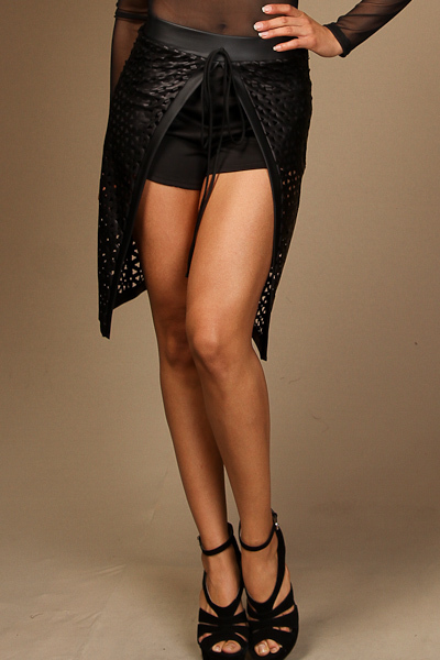 Front tie open PU shorts skirt