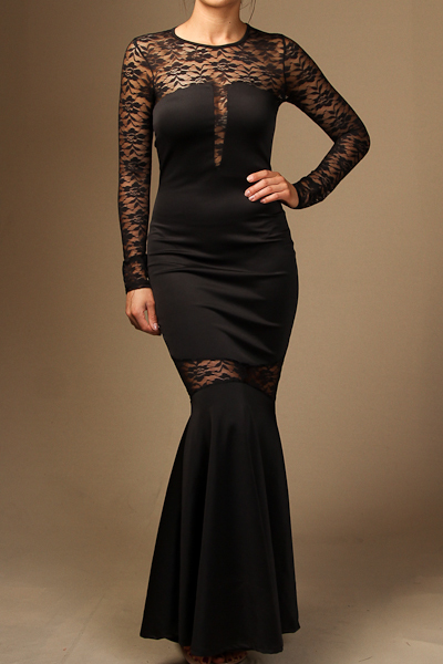 Long sleeve Lace insert mermaid maxi dress