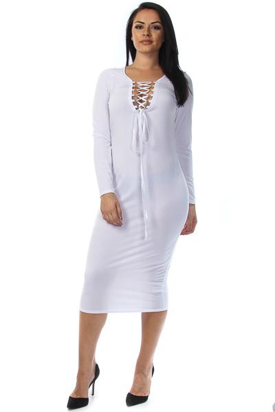 Tied long sleeve midi dress