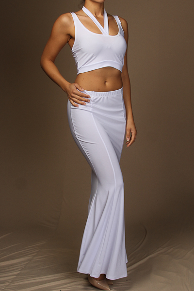 Halter neck tie crop top & mermaid maxi skirt set