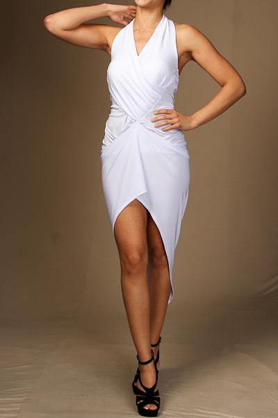 Halter neck asymmetrical draped dress