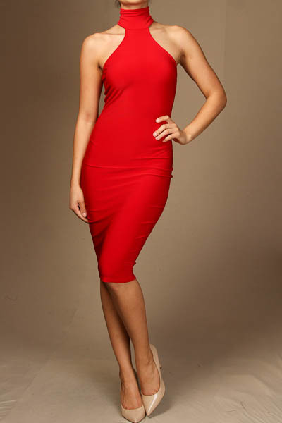Mock neck sleeveless knee length dress