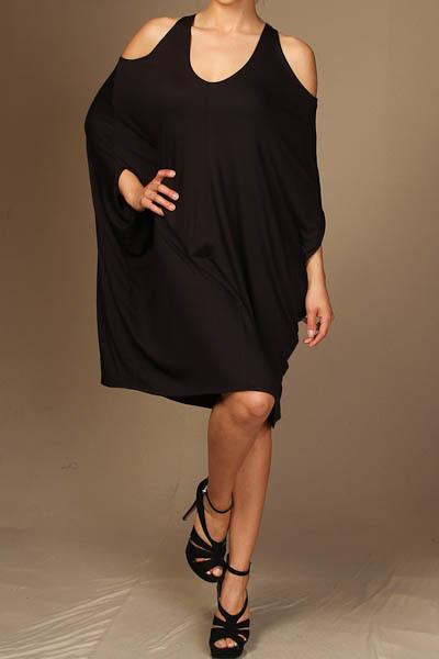 Solid open shoulder mini dress