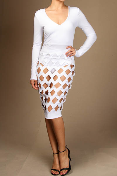 Long sleeve bodysuit with caged overlay skirt