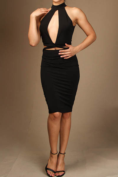 Halter front open cross cut out midi dress