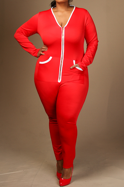 Long sleeve contrast-color detail jumpsuit