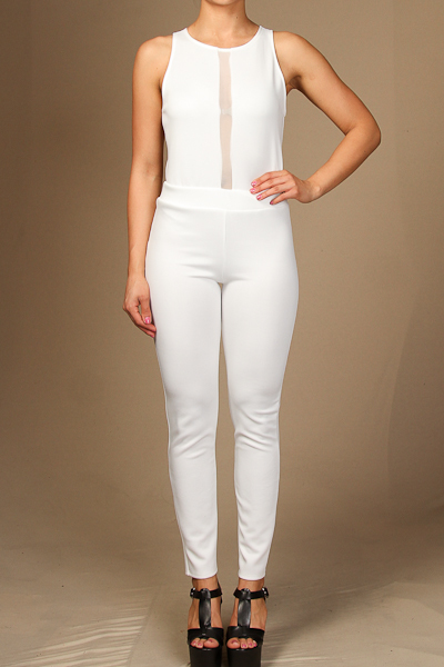 Mesh insert sleeveless jumpsuit
