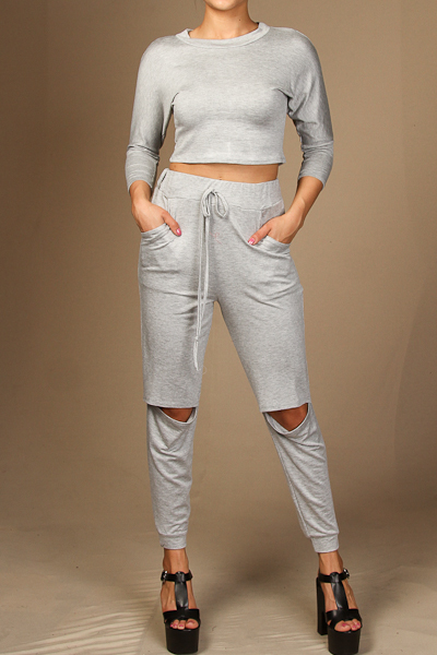 Solid crop top and knee slit jogger pants set
