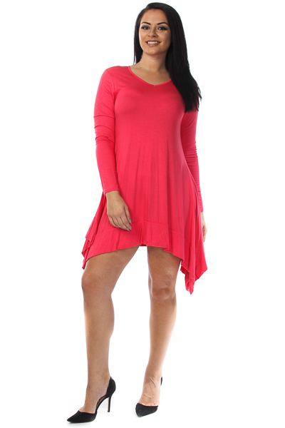 Solid long sleeve asymmetrical dress