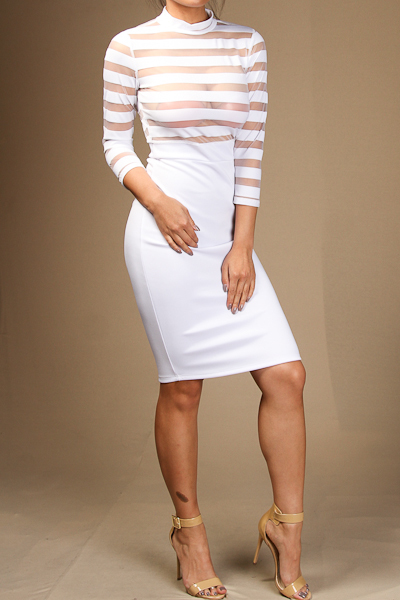 Striped Mesh Layered Dress