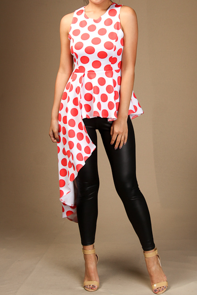 Sleeveless polka dot print peplum top