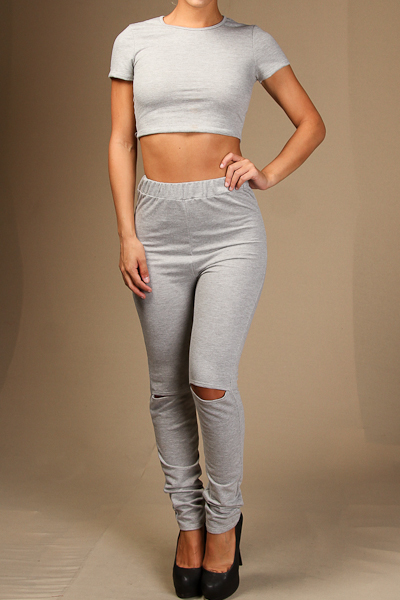 Short Sleeve Crop Top & Knee Slit Pants Set