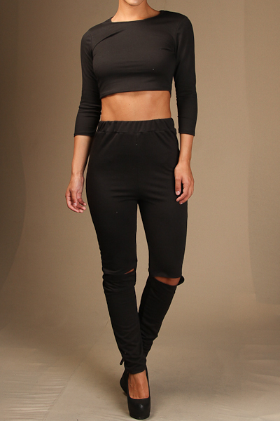 3/4 Sleeve Crop Top & Knee Slit Pants