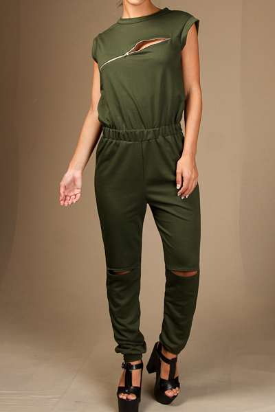 Sleeveless Jumpsuit with Zipper detail and knee slits