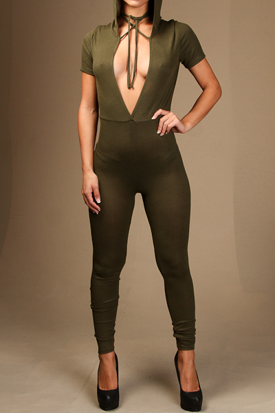 Hoodie Jump suit with deep v on front side