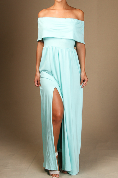 Maxi dress with flounce top and side slit.