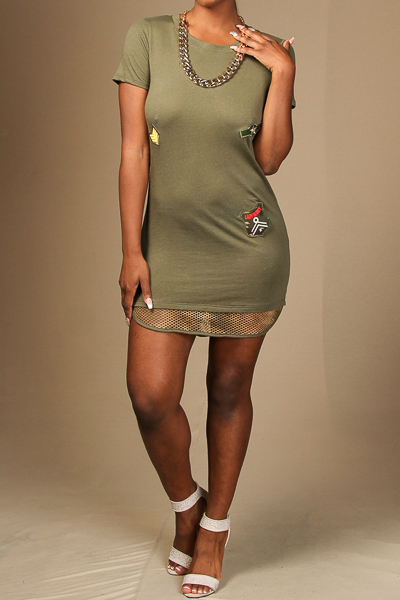 Army Inspired T-Shirt Dress with Patches