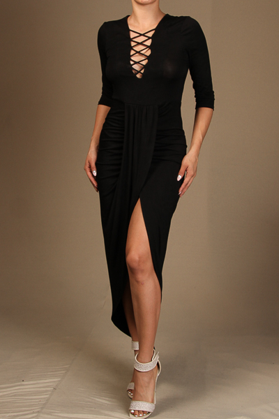 3/4 Sleeve Dress with lace up