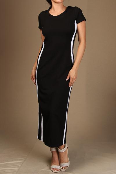 Contrasting Midi Dress
