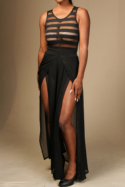 Sleeveless maxi dress with double slit