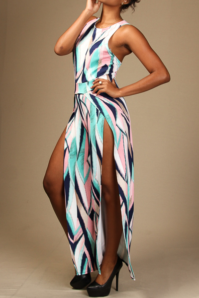 Printed Jumpsuit with slits