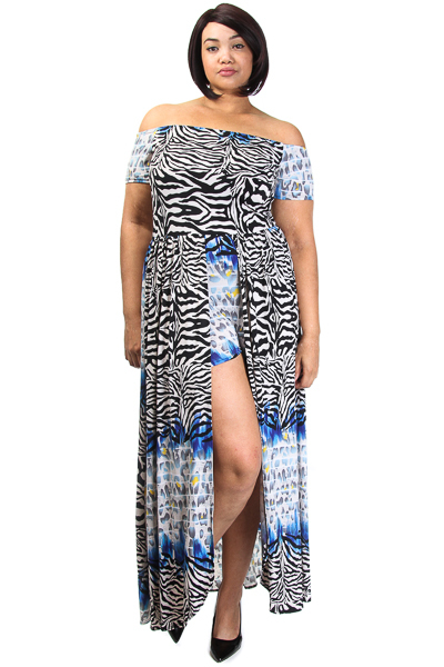 Animal Printed Short Sleeve Maxi Top with attached Shorts