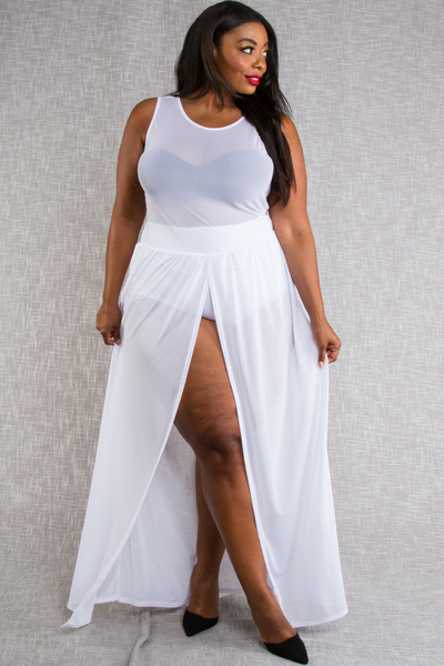 Sleeveless Mesh Maxi Dress