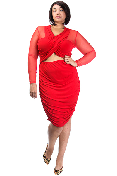 Long Sleeve Mesh Dress with Gathering
