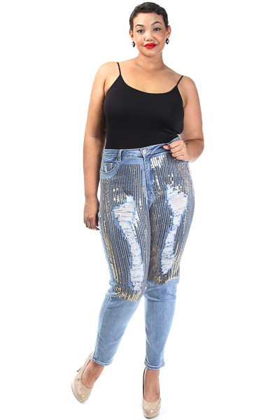 Distressed Denim Sequin Jeans