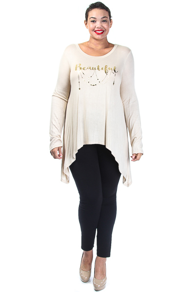 Round Neck Hi-Lo Long Sleeved Beautiful Top