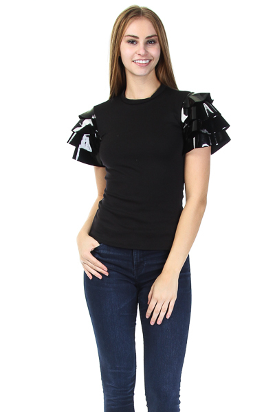 ROUND NECK TOP WITH RUFFLE VINYL SLEEVES
