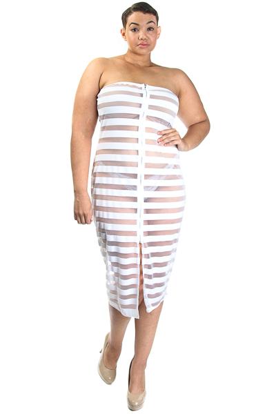 Stripe Mesh Tube Top Dress with Zipper Opening