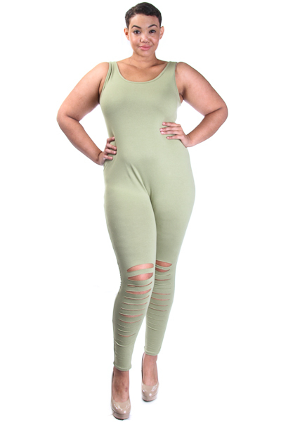 Jumpsuit with knee slits