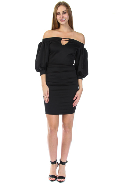Puff sleeve peephole knee length dress