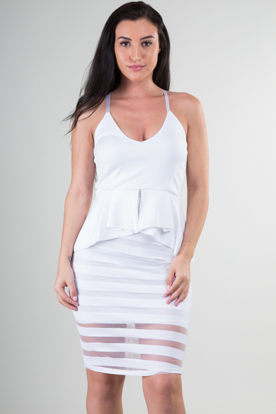 Striped mesh bottom peplum knee length dress