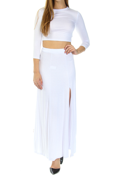Solid 3/4 sleeve top & maxi slit skirt